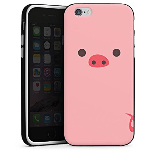 Apple iPhone X Silikon Hülle Case Schutzhülle Schwein Pig Comic Style Silikon Case schwarz / weiß