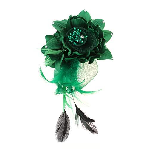 Lurrose Blume Feder Brosche Pins Corsage Brosche Breastpin Handmade Blume Haarspangen Haarnadeln Headwear für Frauen Mädchen (Grün)