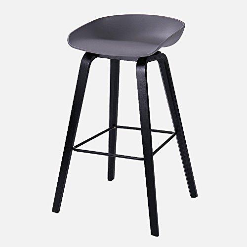 Tabouret de bar nordique, tabouret haut maison, tabouret de bar en bois massif, simple chaise de bar moderne décontracté créatif (Couleur : Gris, taille : 49 * 46 * 76cm)