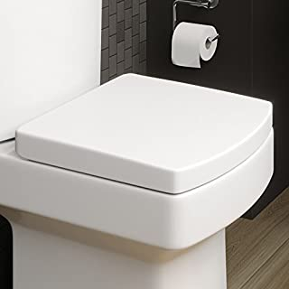 Affine Modern White Square Toilet Seat Soft Closing Silent Fast-Release Chrome Hinges