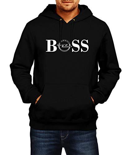 Sweatshirt OPEL BOSS Logo Hoodie Herren Men Car Auto Tee Black Grey Long Sleeves Present Christmas (2XL, Black)