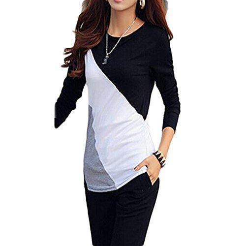 Femmes Col Rond Amincissant Elégante Baseball Rayée dautomne à Manches Longues T-shirt Sweat Chemisier Tops Noir