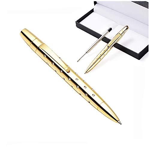 Dreh-Kugelschreiber, Metall, 1 mm, schwarze Tinte, mittlere Spitze, Geschenk-Box mit Ersatzminen gold