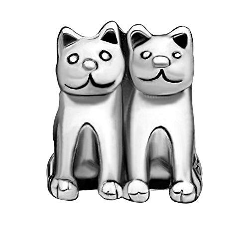 Uniqueen - Abalorio para Pulsera, diseño de Gato Doble Chapado en Plata