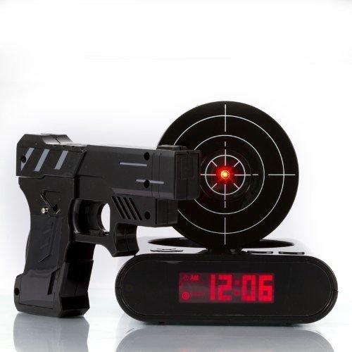 Althemax® Amazing Taget Gun alarma reloj novedad regalo juego de disparos objetivo alarma infrarrojos negro