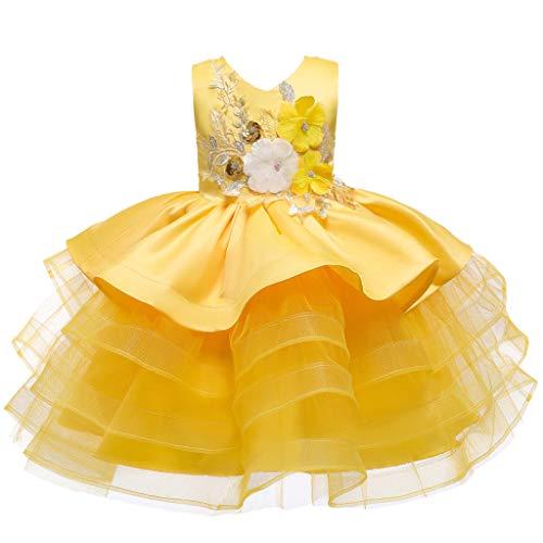 Lazzboy Karneval Kleinkind Baby Kinder Mädchen Blumen Tüll Party Kleid Prinzessin Kleider Einhorn Kostüm Cosplay Outfit Tutu Rock Festival Geburtstag Pageant(Gelb,Höhe:100)