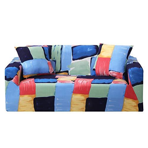 Gowind6, copridivano in Tessuto Elasticizzato, colorato, Stampa a Quadretti, Elastico, per Poltrona, Divano, Colorful Paint Plaid, 3 posti