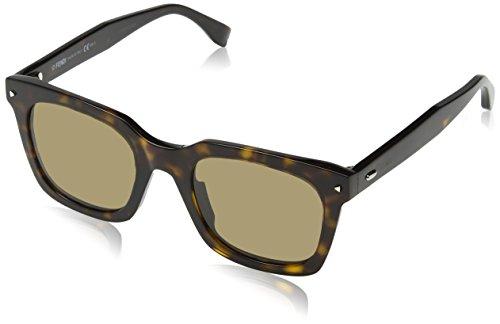 Fendi ff 0216/s, occhiali da sole donna, nero (dark), 49