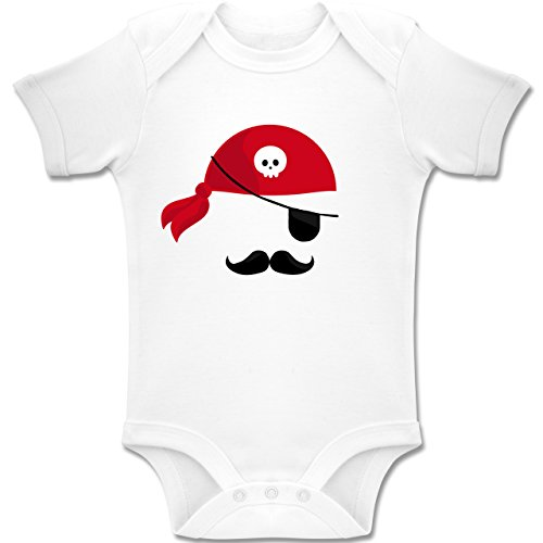 Shirtracer Karneval und Fasching Baby - Pirat Kostüm - 3-6 Monate - Weiß - BZ10 - Baby Body Kurzarm Jungen Mädchen (Kostüm Piraten 3-6 Monate Baby)