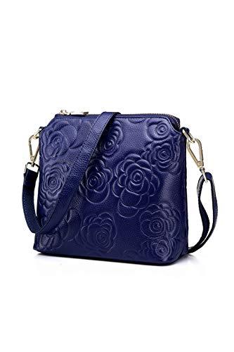 Howoo Echtes Leder Rindleder Schultertasche Klein Handtasche Jahrgang Retro Geprägt Umhängetasche Bote für Damen/Frauen blau - Rindleder-umhängetasche Handtasche