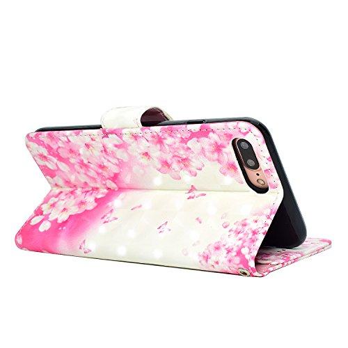 iPhone 7 Plus Custodia,iPhone 8 Plus Custodia in Pelle,Slynmax 3D Modello Copertura Folio Flip Cover PU Wallet Case Per iPhone 7 Plus / iPhone 8 Plus Protezione Caso Ultra Sottile Colorato Protettivi  Modello #9