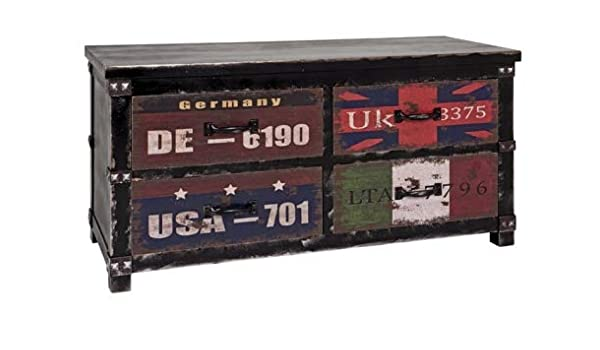 Kommode aus MDF mit Dekor Schriftzug in Vintageoptik 3 Schubladen montiert