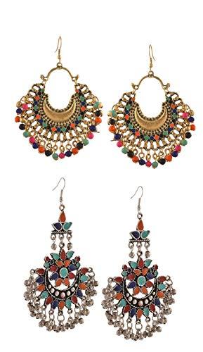 Tiaraz Fashion German Silver Beaded Chandbali Hook Earrings Jewellery for Women (Combo of 2)