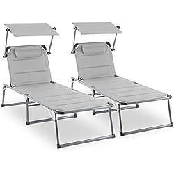 Blumfeldt Amalfi Set transat 2 chaises Longues rembourrées (dossiers réglables, 5 Positions, Assise ou allongée, Pare-soleils réglables Individuellement) - Beige
