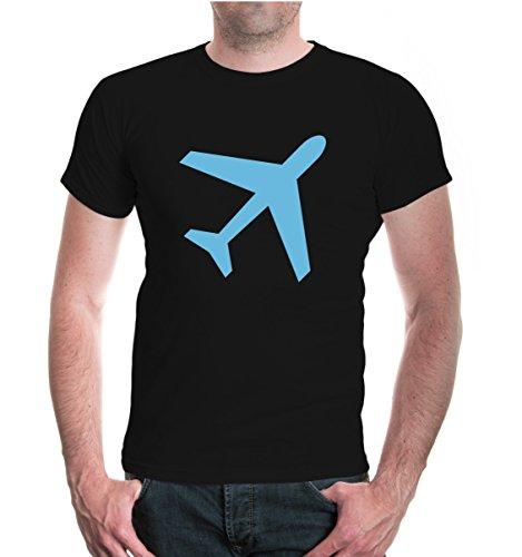 T-Shirt Flugzeug-Silhouette-S-Black-Skyblue (T-shirt Flugzeug Tee)
