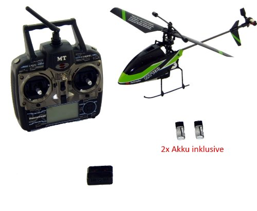 MT100 PRO - Single Blade Heli - 2,4 Ghz Profi Sender (Mode 1 bis 4) - 23 cm Rotor - 2x Akku Sender Single