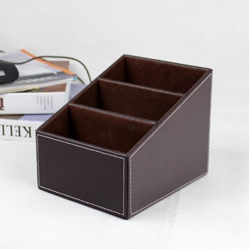 Leder Dvd-rack (yariew PU Leder Fernbedienung/Controller TV Guide/Mail/CD Veranstalter/Caddy/Halter mit (braun))