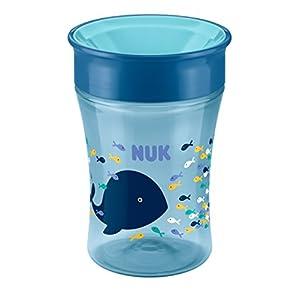 NUK Magic Cup Trinklernbecher, 360° Trinkrand, auslaufsicher abdichtende Silikonscheibe, 230ml, BPA-frei, Blau