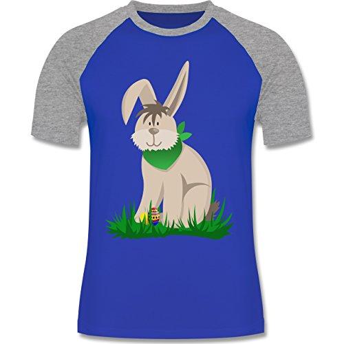Ostern - Osterhase - zweifarbiges Baseballshirt für Männer Royalblau/Grau meliert