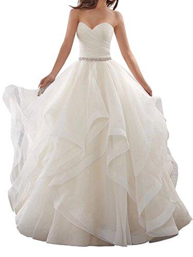 Lilybridal Brautkleider für die Braut aus Schulter Kristall Perle Spitze Hochzeitskleider 116