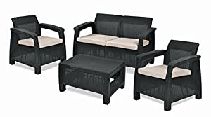 Keter Corfu Outdoor 4 Seater Rattan Furniture Set with Accent Table - Graphite with Cream Cushions
