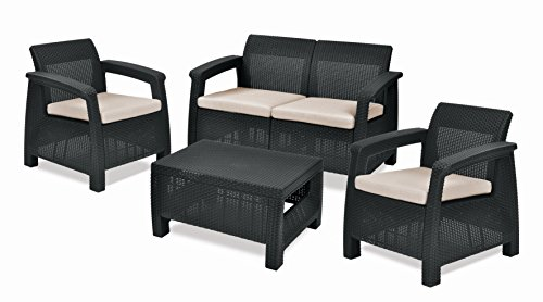 Keter Corfu Outdoor 4 Seater Rattan Sofa Furniture Set with Accent Table - Graphite with Cream Cushions
