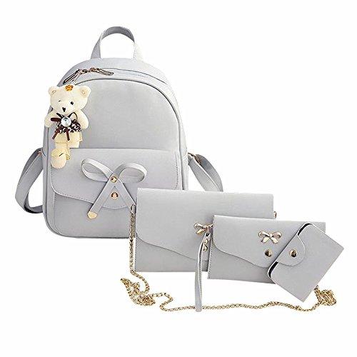 et 4 Stück,Frauen Rucksack Handtasche Crossbody Mädchen Messenger Bogen Schultertaschen Schön Einkaufstasche Mode Schultasche (Grau,7 * 1 * 11cm) ()