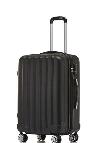 BEIBYE BEIBYE TSA-Schloß 2080 Hangepäck Zwillingsrollen Reisekoffer Koffer Trolley Hartschale Set-XL-L-M(Boardcase) (Schwarz, L)