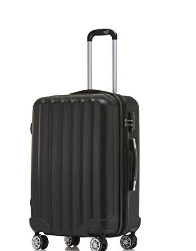 BEIBYE TSA-Schloß 2080 Reisekoffer Koffer Trolley Hartschale (Schwarz, XL) (Schwarz-trolley)