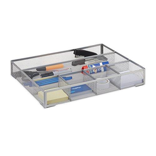 Relaxdays Schreibtischorganizer groß, rutschfeste Ablagebox mit 6 Fächern, Metall Mesh, HxBxT: 6 x...