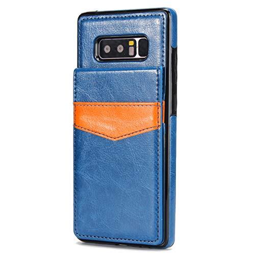 Compatible with Hülle Samsung Galaxy Note 8 Leder Tasche mit Kartenfach Schutzhülle Premium PU Leder Case Kredit Karten Handyhüllen für Galaxy Note 8 (Samsung Galaxy Note 8, blaues)