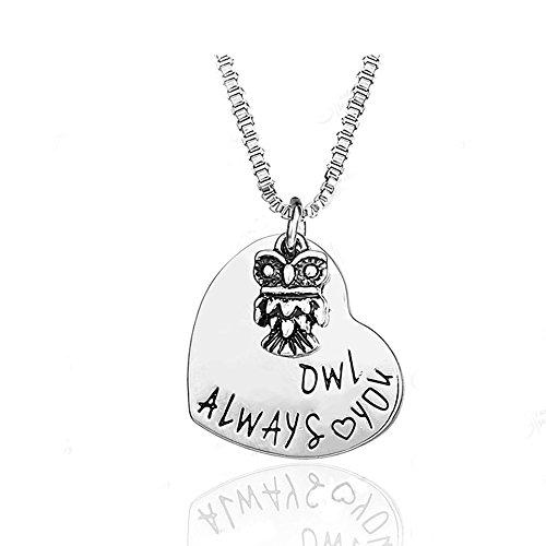 Majesto Inspirierende Halskette Eule Liebe für Damen Mutter kleines Mädchen Teenager - Geschenk Schmuck Zubehör 18 Karat vergoldet