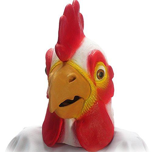 Carnival Toys 969 - Maske Hahn, Latex, rot/weiß