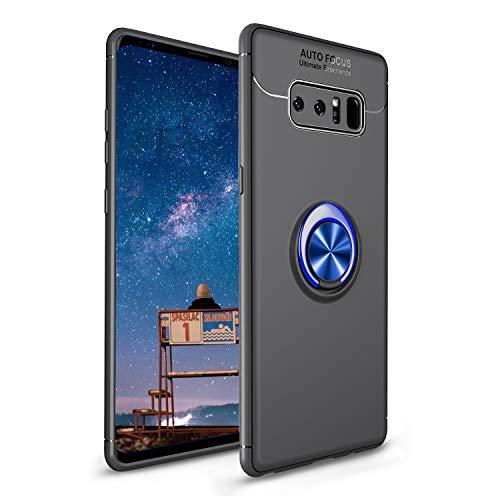 CESTOR Handyhülle für Samsung Galaxy Note 9 [mit 360°Grad Drehbarer Ringhalter Fingerhalter],Luxus Ultra Dünn Weich Flexibel TPU Silikon HandyHülle für Samsung Galaxy Note 9,Schwarz+Blau