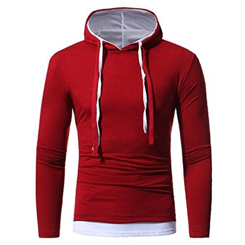 LuckyGirls Sweats à Capuche Hommes, Hiver Manches Longues Vêtements De Sport Casual Tops (Vin rouge, M)