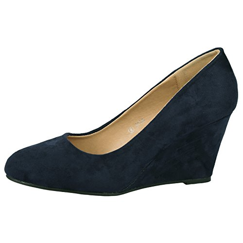 ByPublicDemand Olivia Womens Mid Wedge Heel Slip On Classic Court Shoes (UK...