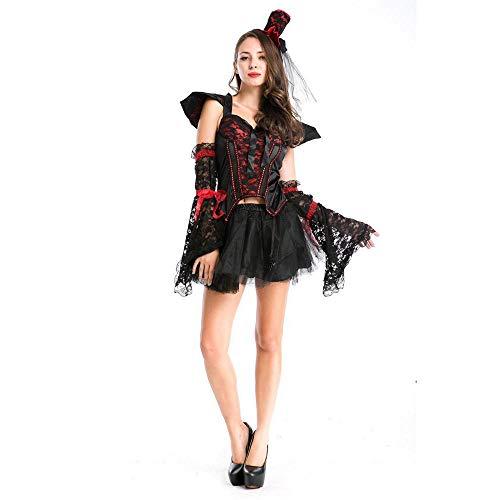 Shisky Cosplay kostüm Damen, Halloweenkostüm Hexe Dämon Outfit Vampir Transvestit einheitliche - Dämon Hexe Kostüm