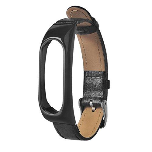 Xiaomi Mi Band 2 Armband, FEITONG Geschäft Armband Leder Ersatzband Armband für Xiaomi Mi Band 2 (24.5cm*1.8cm*0.6cm, Schwarz) 6 Cm Band