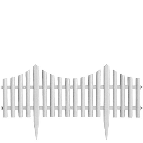 4er Set Beeteinfassung Gartenzaun Zierzaun Beetabgrenzung Lattenzaun Dekozaun Kunststoffzaun Beetumrandung Zaun 60,5x33cm - Weiss