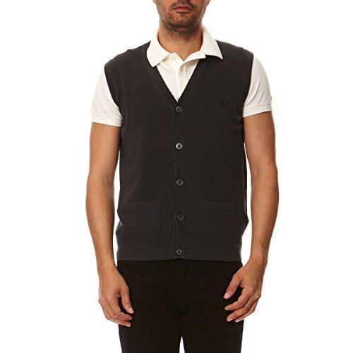 Fred Perry Fred Perry Mens Waistcoat 30402103 E135 DARK BROWN Dark Brown