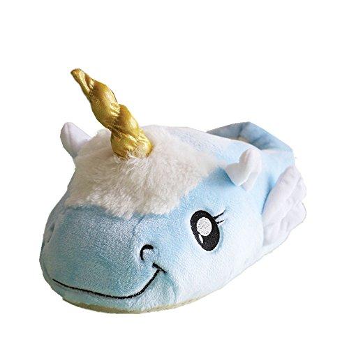 JYSPORT Einhorn Hausschuhe Damen Plüsch Kuschelige Pantoffeln Slip On Slippers Unicorn Home Pantoffeln für Erwachsene Europäische Größen 39-42 Blue