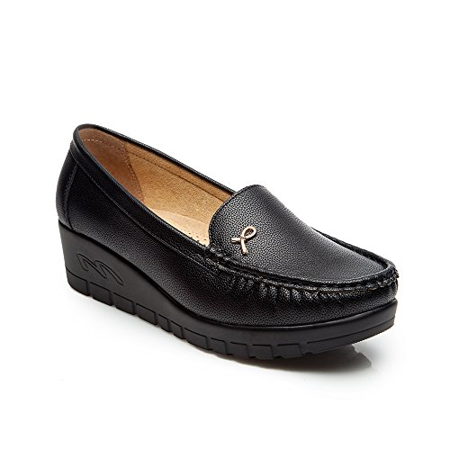 Ladies Black Loafer Flat Shoes - Cestfini Comfortable Moccasin Casual Platform Work Boat Shoes For Women, Comfort Thick Sole Prefect Fit To Walk, Suitable For All Seasons 12B39