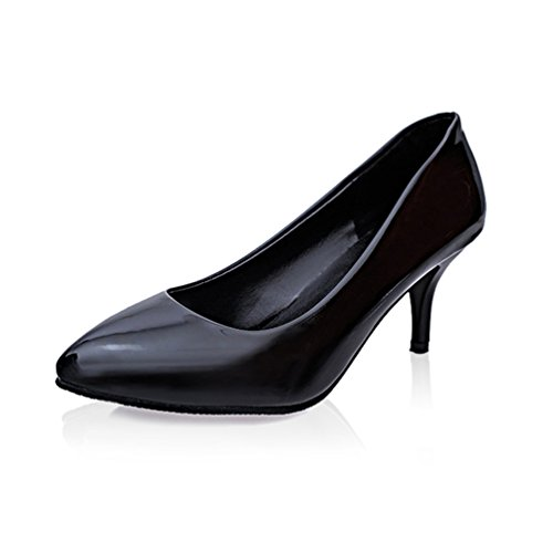 Damen Pumps Spiegelleder Trichterabsatz Slip On Moderne Niedrige Schuhe Schwarz