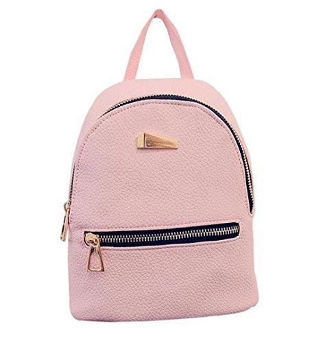 LuckES mochila bandolera señoras/las mujeres de doble bolsa de viaje de la universidad del viento de la moda para los estudiantes las mujeres de doble bolsa de viaje de la universidad (Rosa)