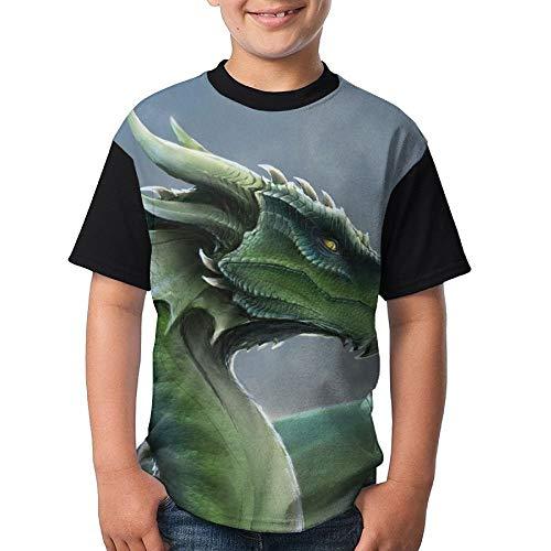 JEWold Custom Children's Teenagers Round Neck T-Shirts Green Dragon Black Short Sleeve T Shirts Youth Tees Kindert-Shirt (Dragon Youth Tshirt)