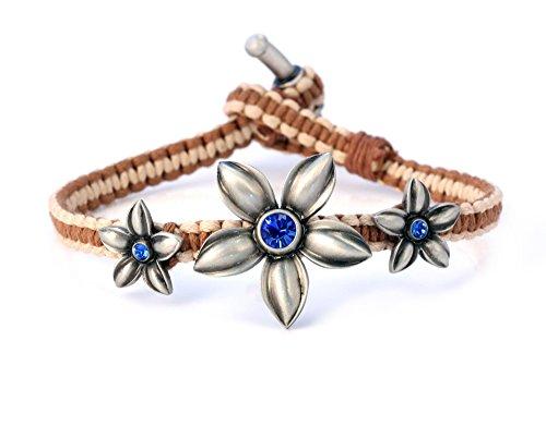 Donna Bico donna ying-yang mano In Bracciale con cristalli Swarovski (CA37 marrone beige blu) - innamorato e vivace, primavera, Placcato argento, cod. CA37BRNBLU 18cm