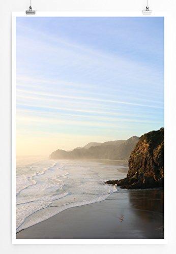 Eau Zone Home Bild - Landschaft Natur – Traumhafter einsamer Strand- Poster Fotodruck in höchster Qualität