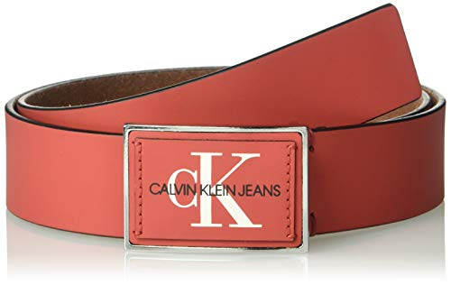 Nickel Plaque Belt (Calvin Klein Herren 38mm Plaque Logo Belt Gürtel, tomate, 38)