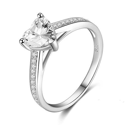 Klassische 925 Sterling Silber Mit Herz Zirkonia & Kristall Für MetJakt Frauen Hochzeit & Verlobung Liebe Ringe Schmuck Geschenk