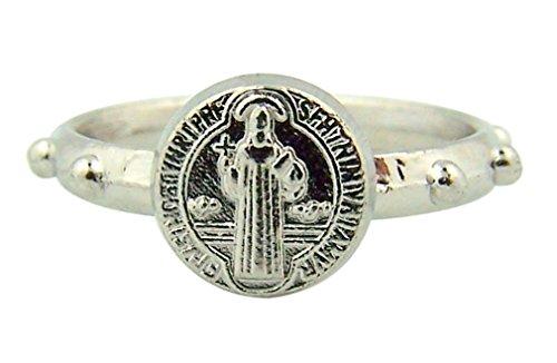 Preisvergleich Produktbild Schutz vor bösen St. Benedikt Medaille Zink Legierung Rosenkranz Ring–Größe L